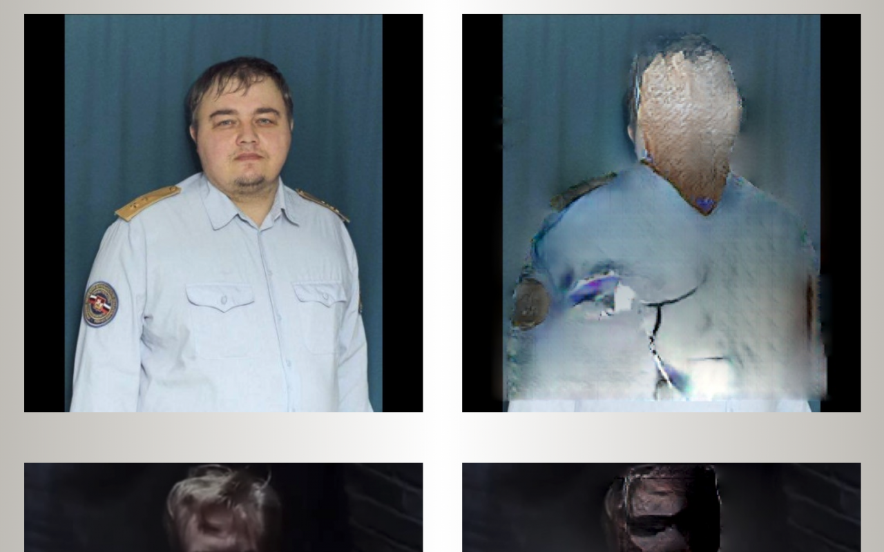 The picture shows a collage of four photos, on the two photos on the left two men are clearly visible, on the two right of it the two men are no longer recognizable and masked.