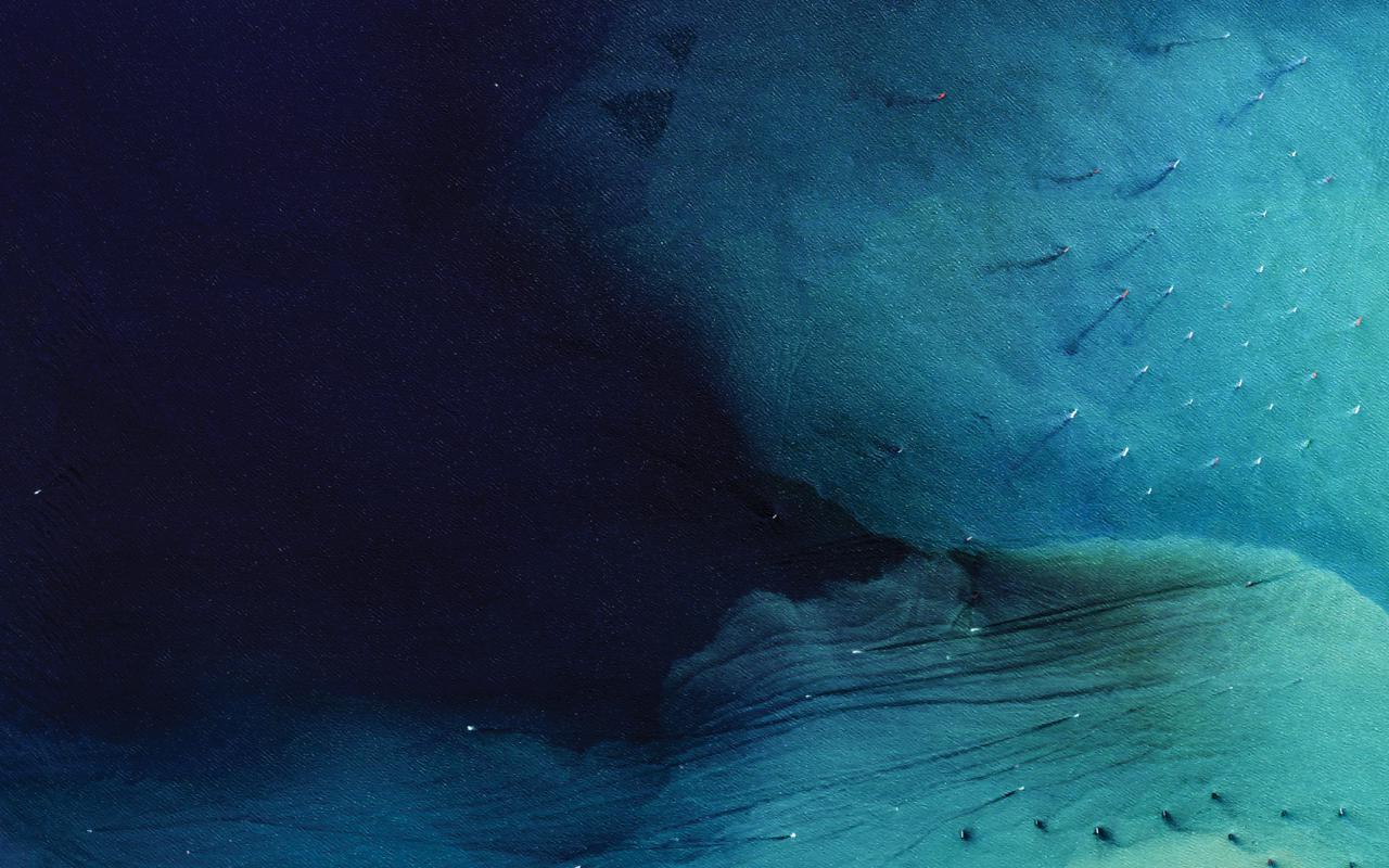 Eine Luftaufnahme des Meers.