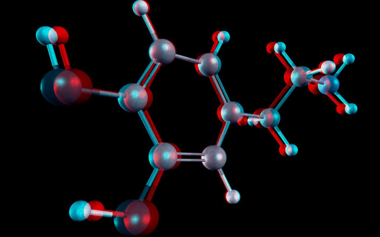 Ein Molekül in 3D-Ansicht