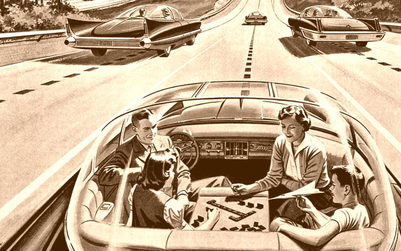 Vintage Zeichnung einer Familie in einem selbstfahrenden Auto.