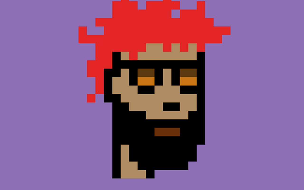 A pixelated graphic of a man with red hair and full beard