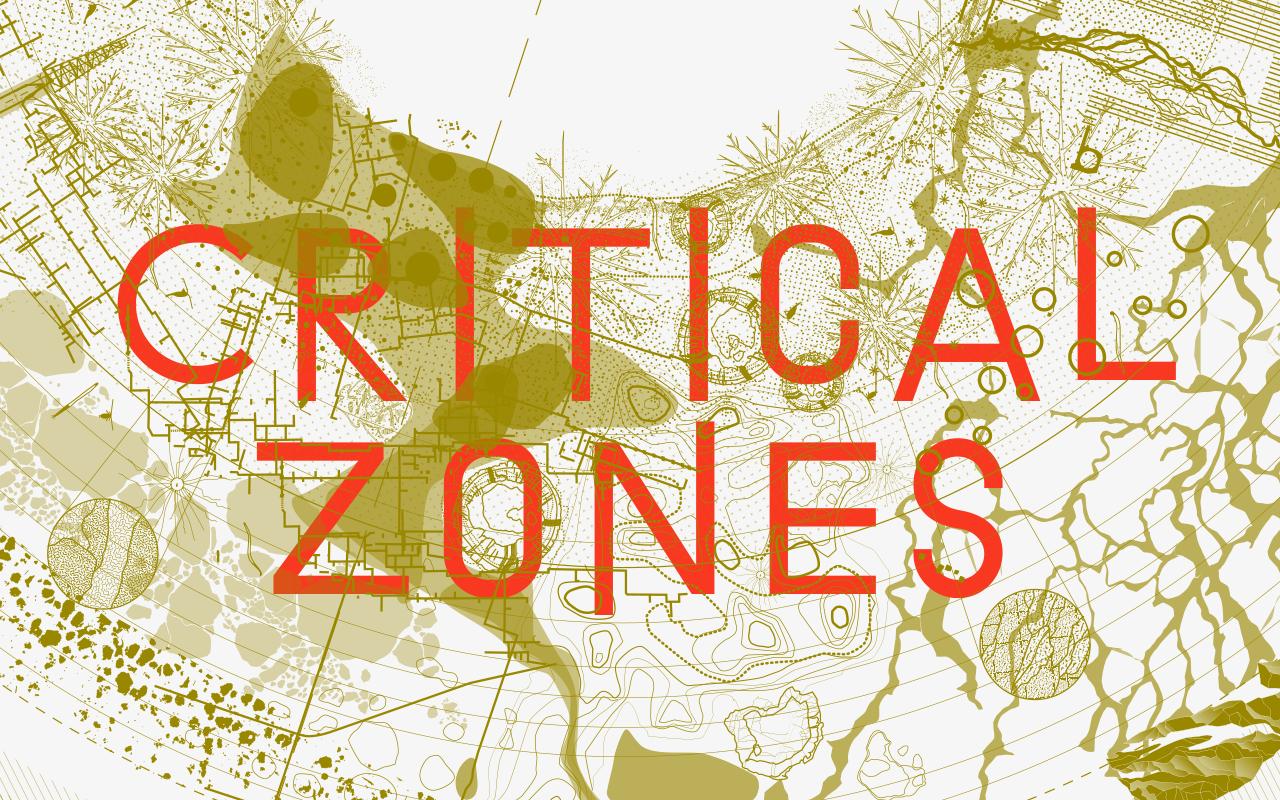 Grafik zur Ausstellung »Critical Zones« am ZKM Karlsruhe. In Orange ist zu lesen »Critical Zones«, über einer beigen, abstrakten Karte.