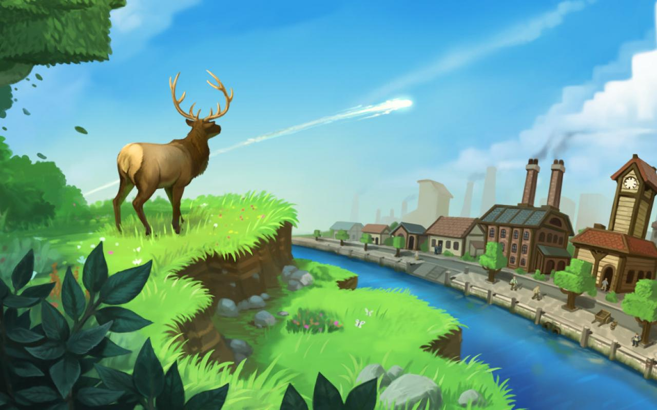"""Screenshot of the computer game """"ECO""""; A deer looks at a city that will soon be hit by a meteorite."""