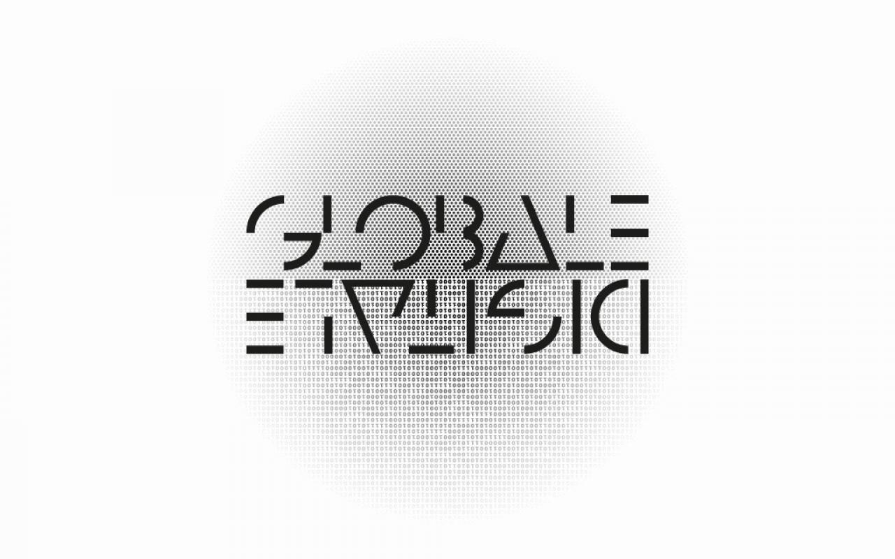 Black pixels, which condense inside. In the middle is »GLOBALE« written