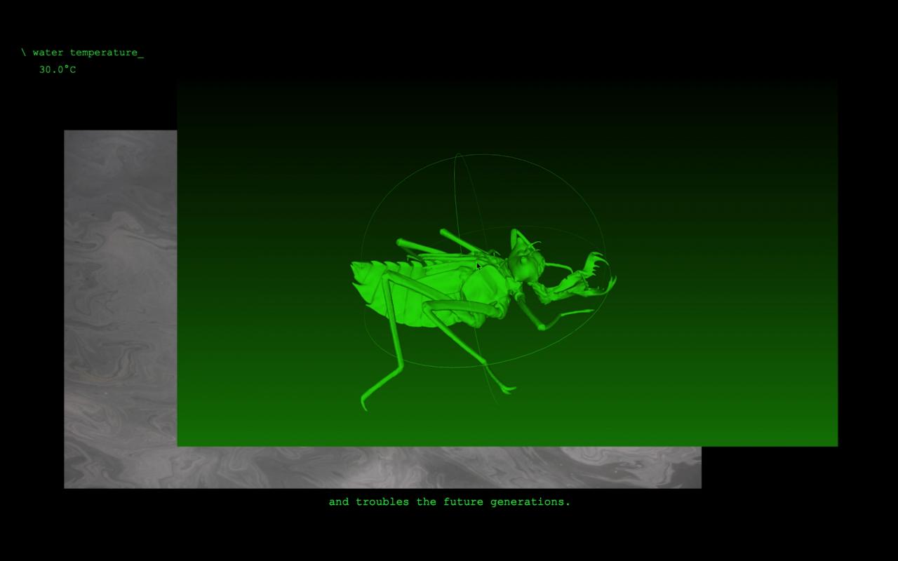 Virtuelles Bild eines Käfers in grün.