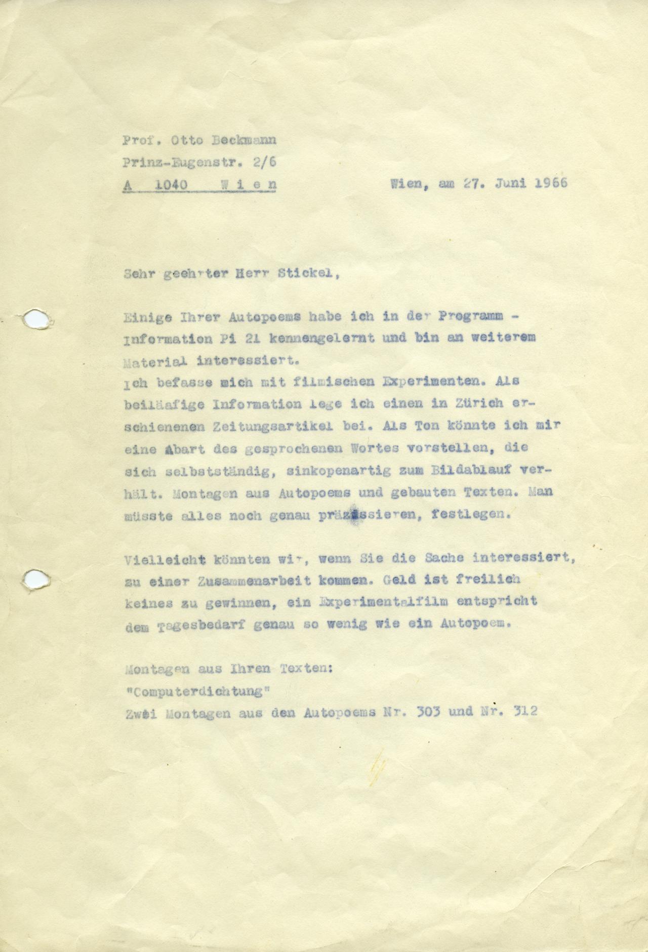 Otto Beckmann: Letter to Gerhard Stickel