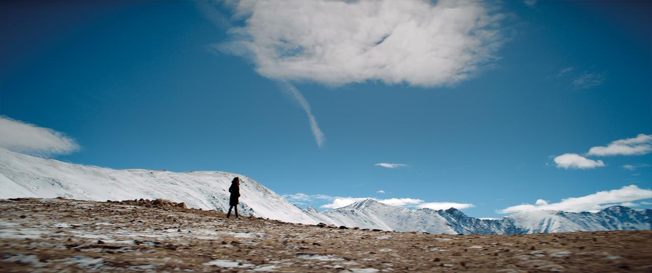 A landscape with a kind of steppe and in the near background is a mountain range. The mountains are covered with snow