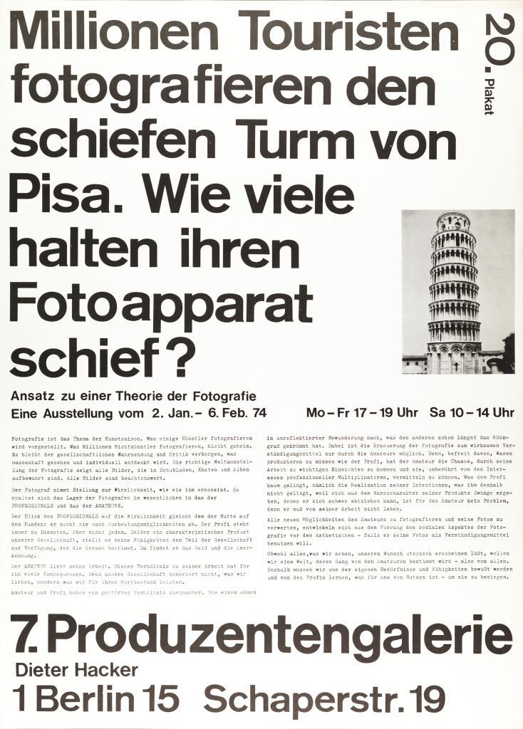 Plakat mit Text: Millionen Touristen fotografieren den schiefen Turm von Pisa. Wieviele halten ihren Fotoapparat schief?