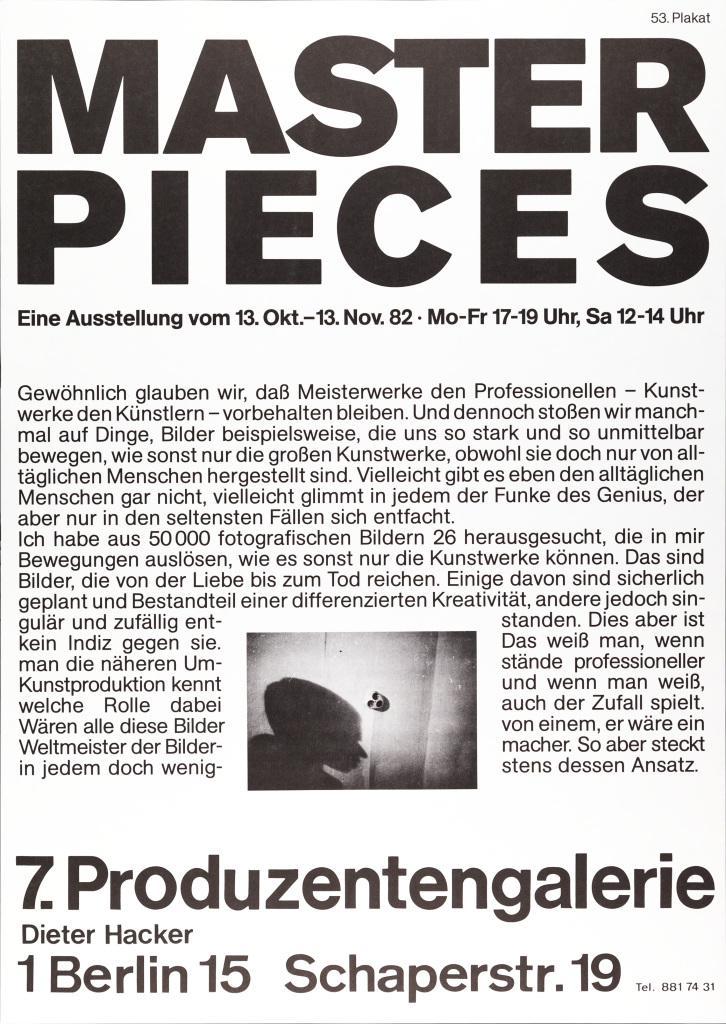 Plakat mit Text: Masterpieces