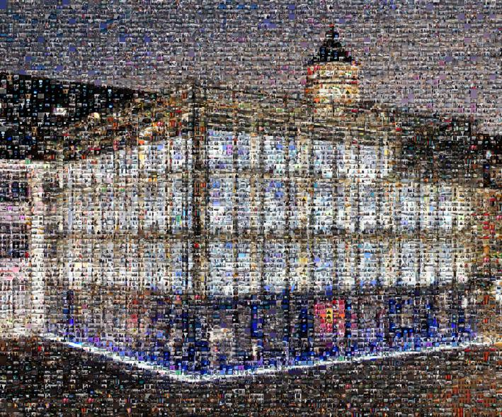 The ZKM_Cube as a mosaic: Made up of many other images.