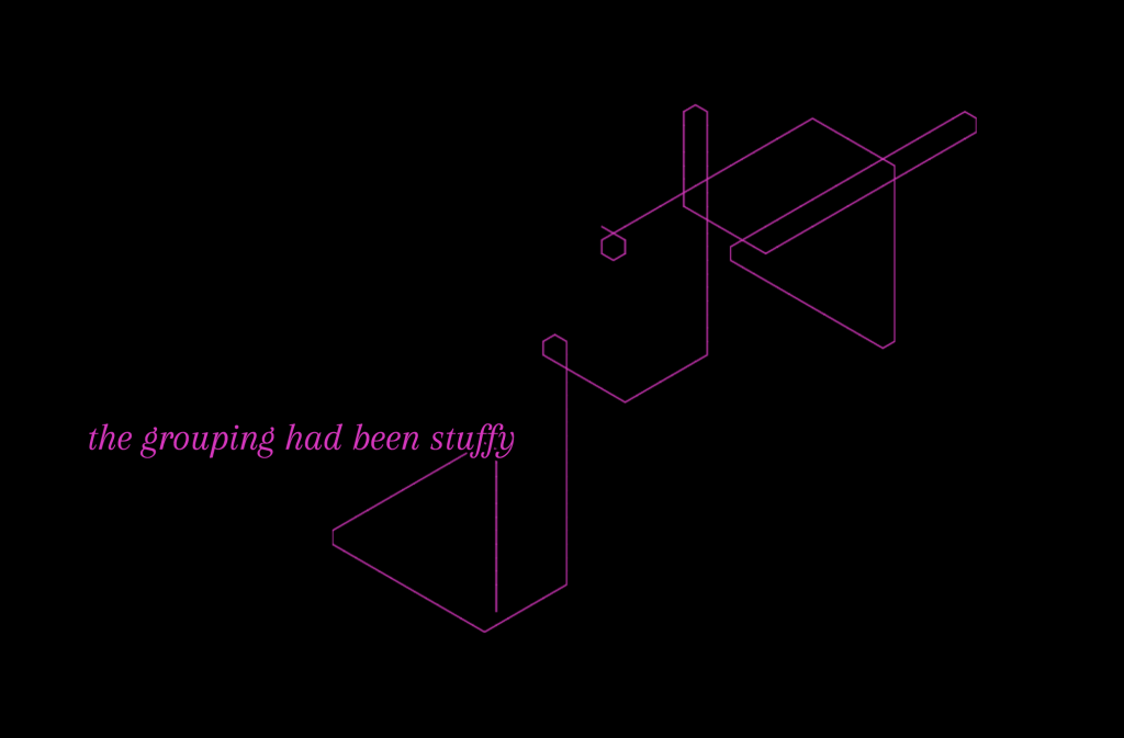 Black image with pink lines and pink font