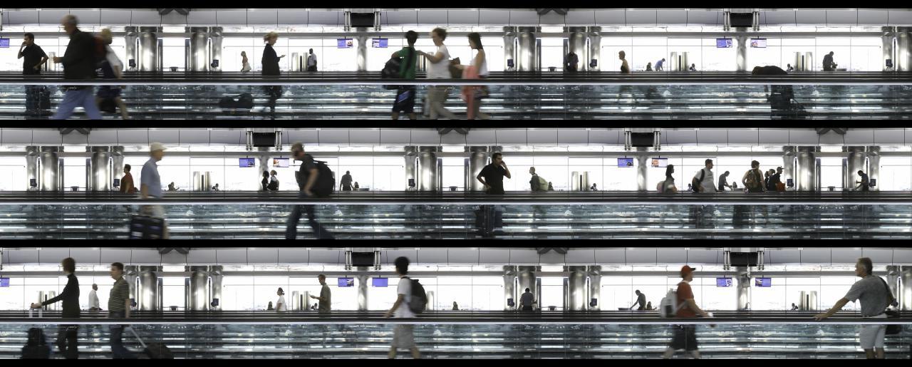 Airport scene, People on runways