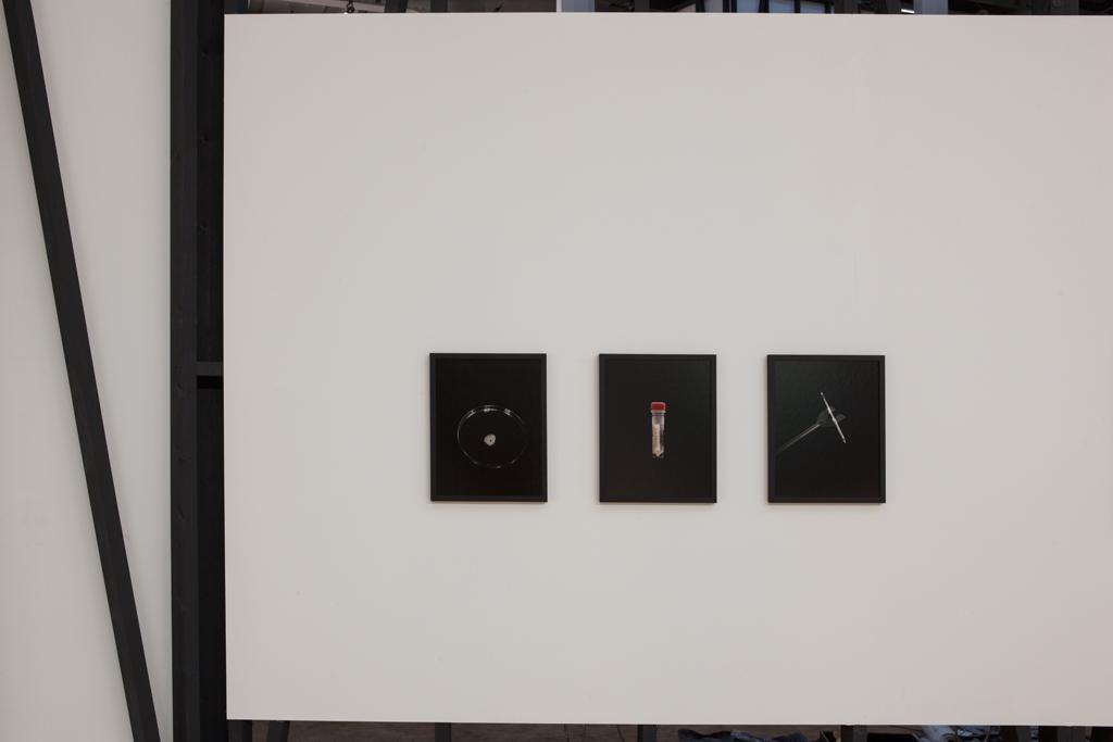 Drei fotografische Kleinformate an einer weißen Wand.