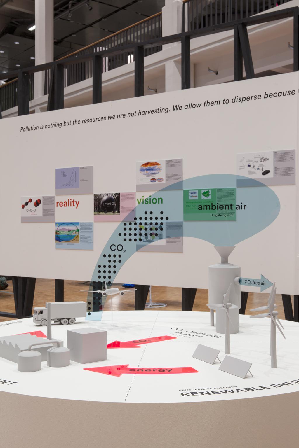 Didaktisches 3D-Modell auf einem runden Sockel, im Hintergrund ein erläuterndes Tafelbild.