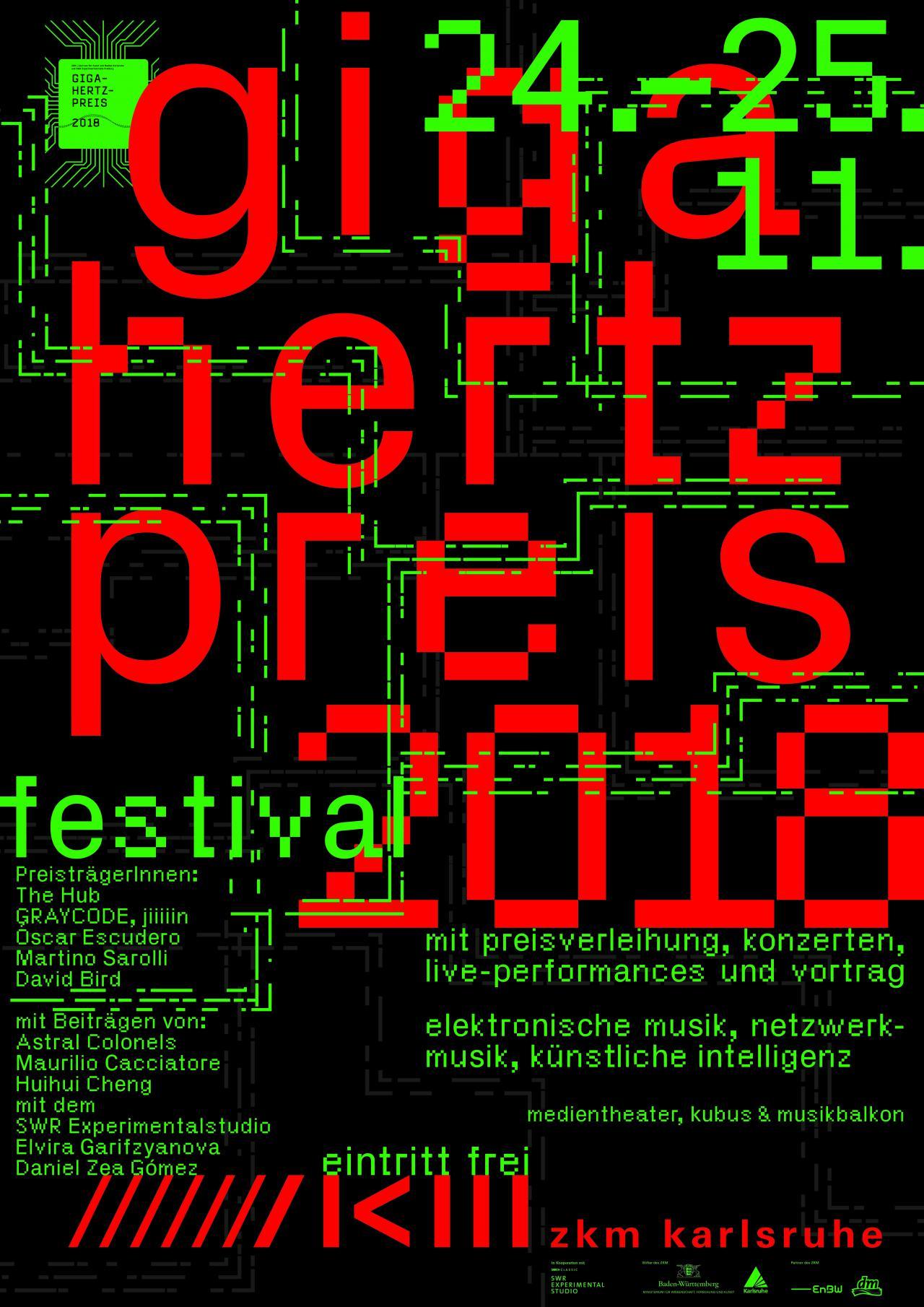Plakat des Giga-Hertz-Preis 2018 am ZKM   Karlsruhe