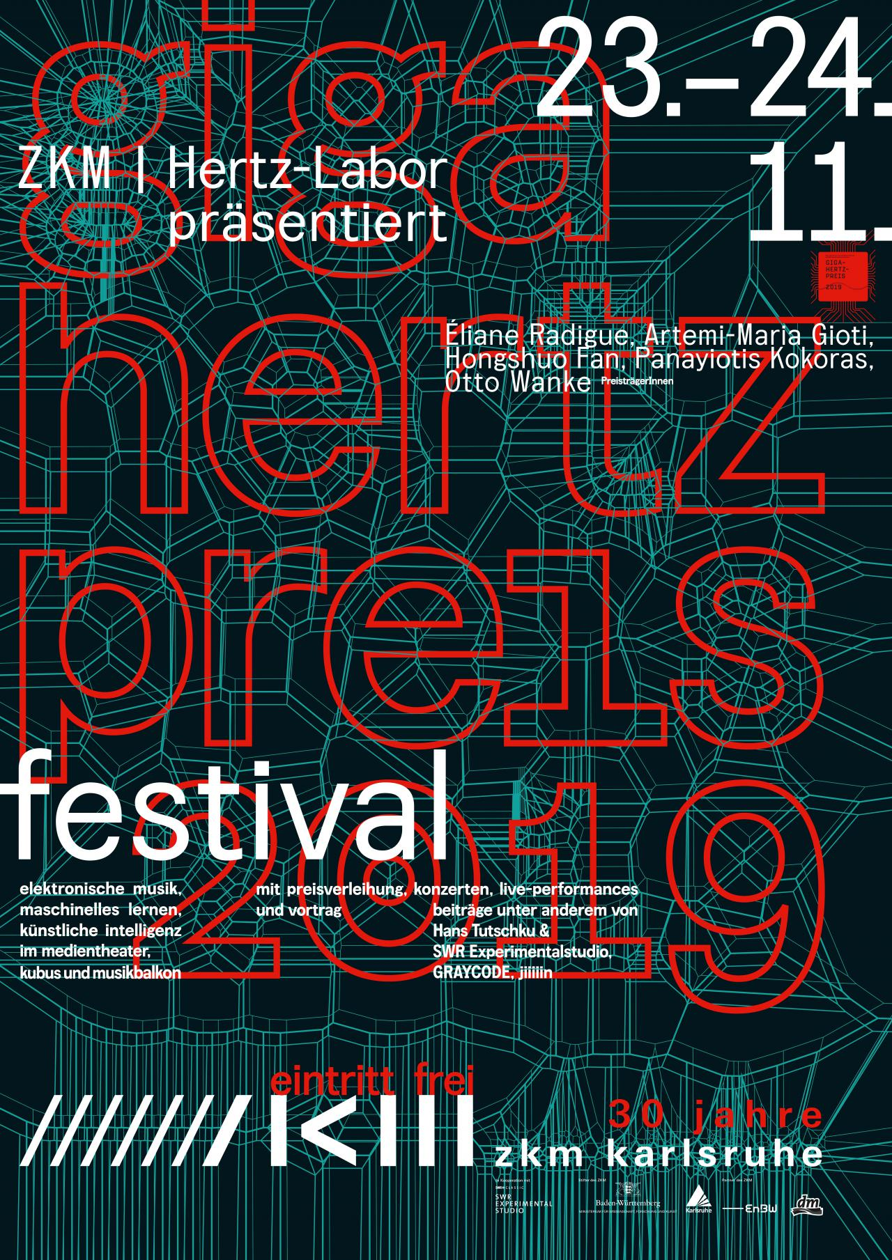 Plakat des Giga-Hertz-Preis 2019 am ZKM | Karlsruhe