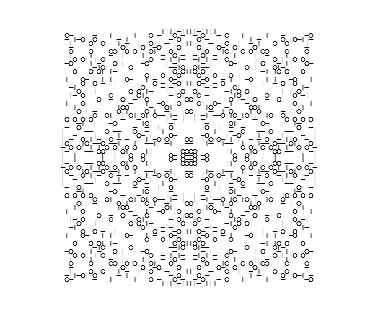 Black pixels against white background form a pattern