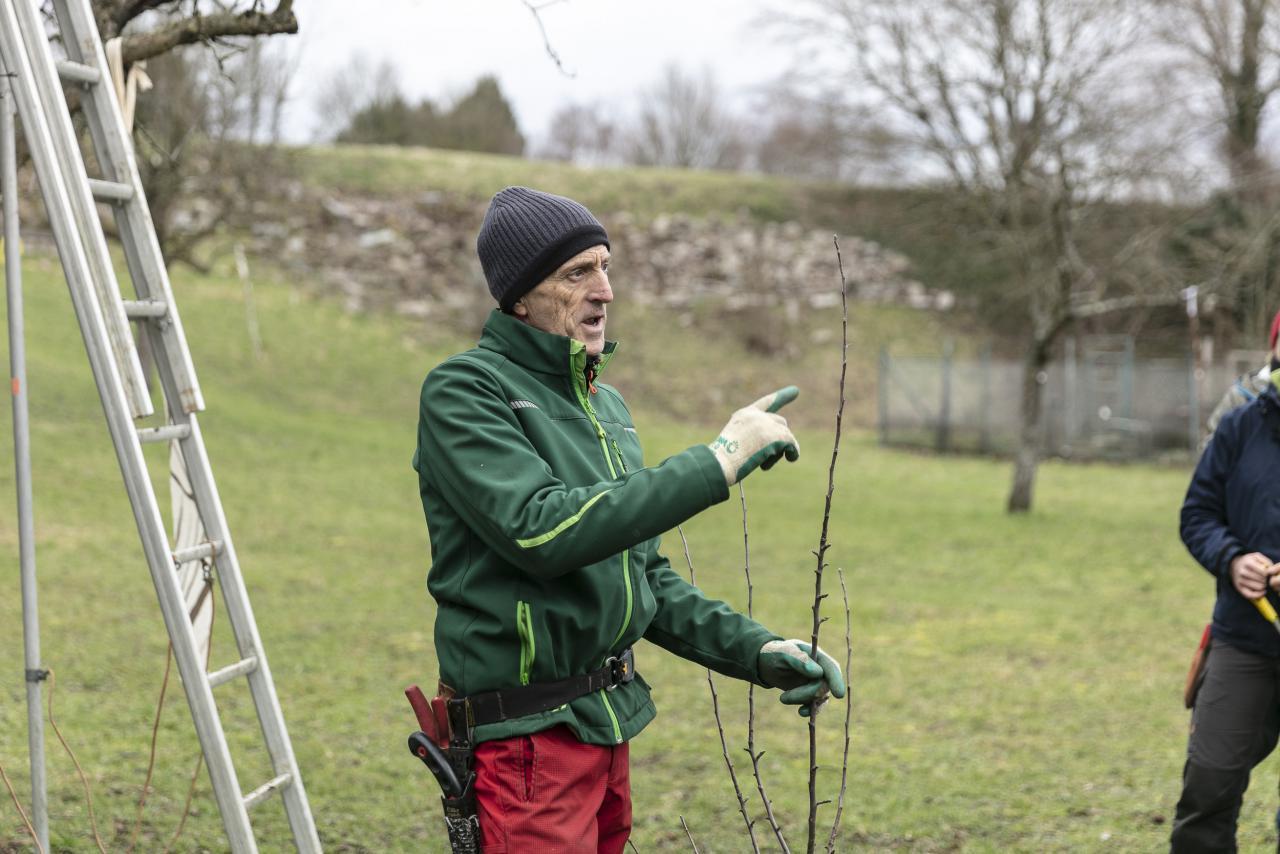 Ein Mann in Outdoor-Kleidung erklärt etwas und hält einen Ast in der Hand.