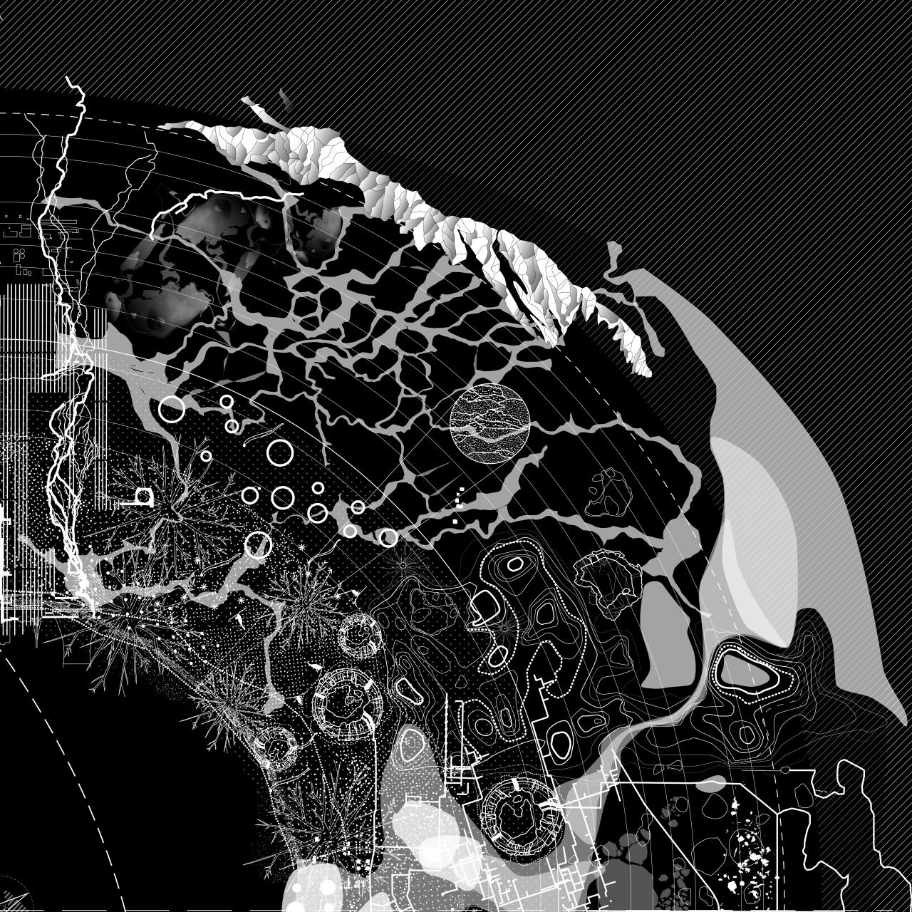 Abstract map in black and white for the exhibition »Critical Zones« by Bruno Latour
