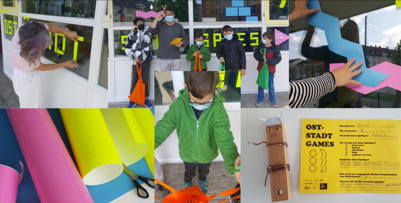 Collage von Fotos mit Kindern, die in Workshops basteln