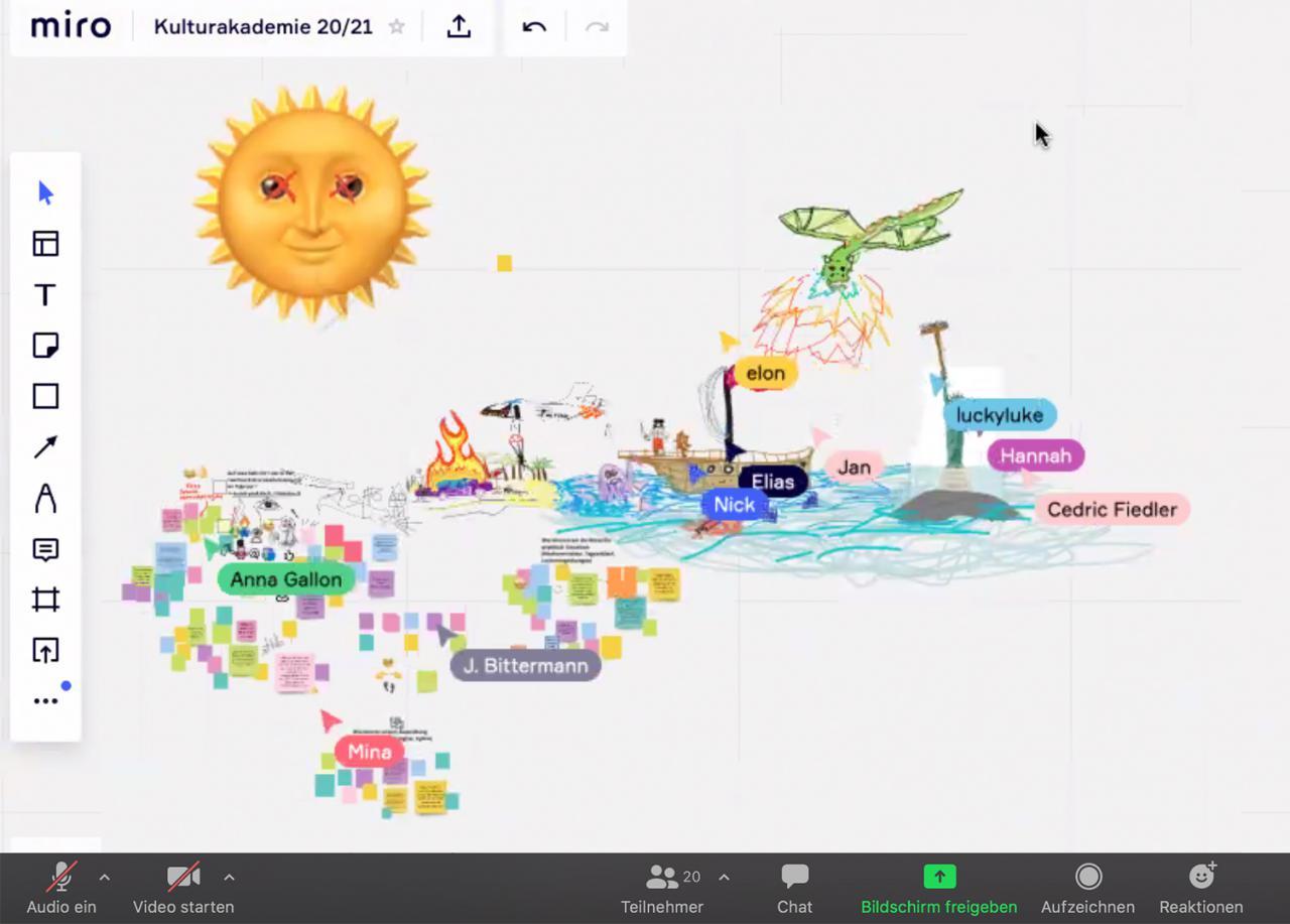 Screenshot eines Online-Kreativ-Workshops, bei dem mit Post-Its und bunten Zeichnungen Ideen gesammelt werden. Das Bild ist im Rahmen der Kulturakademie Baden-Württemberg 2020/21 entstanden.