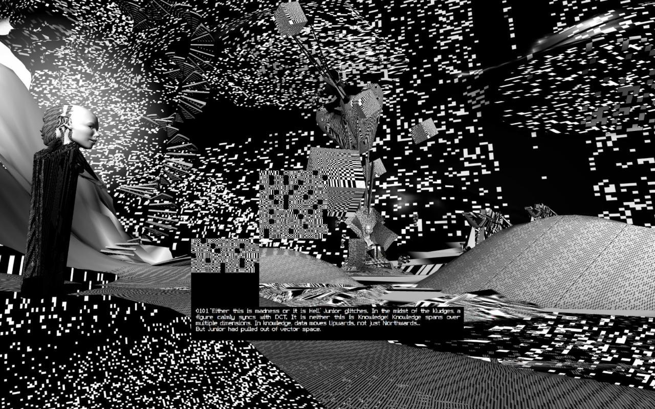 Graphical simulation of a room in black and white with text elements