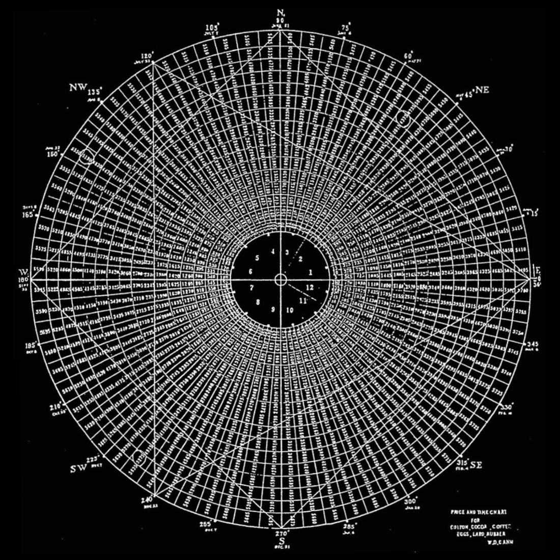 Kreisförmiges Diagramm mit weißen Zahlen und Linien auf schwarzem Grund