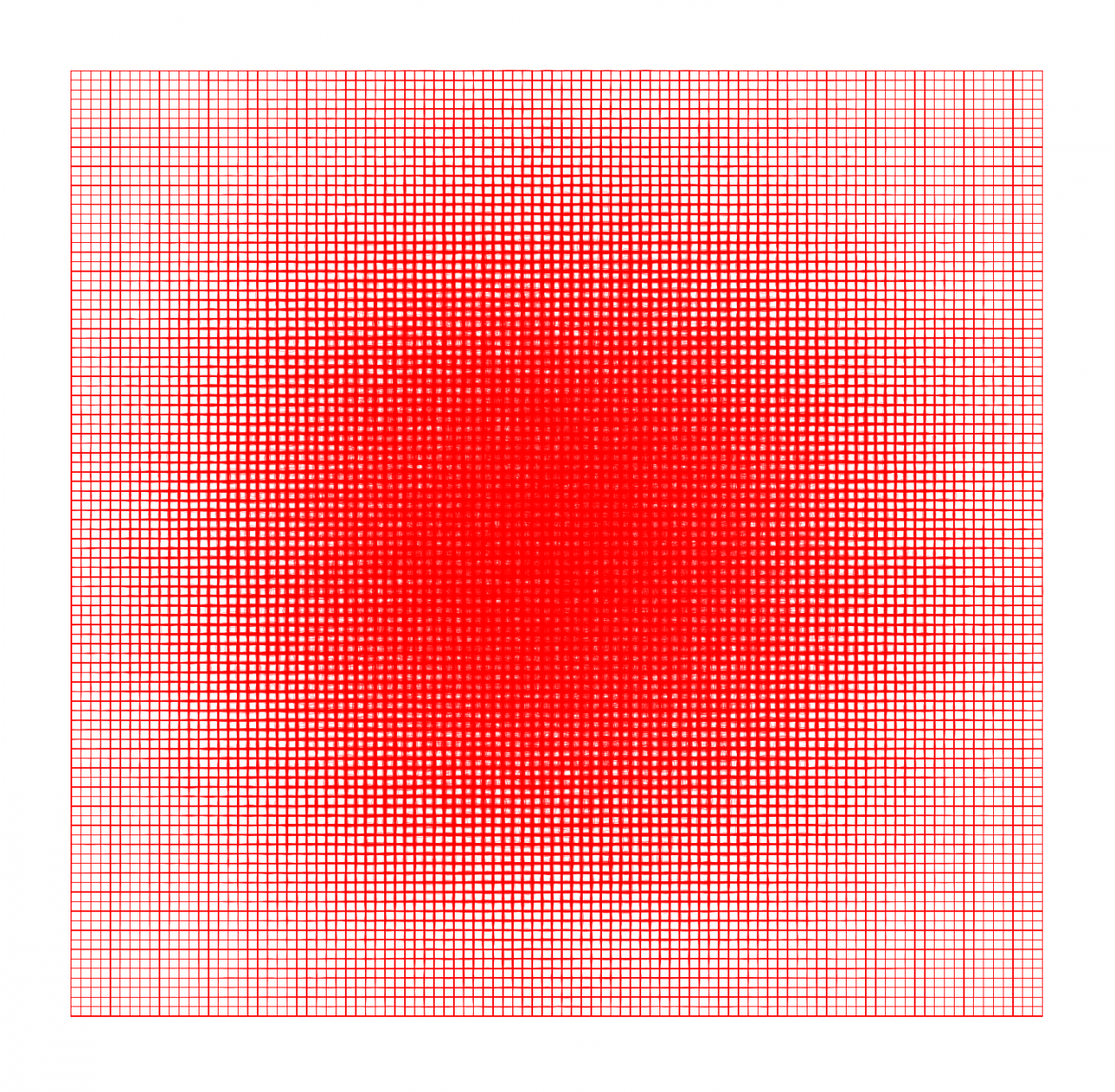 2D square of red grid lines condensing towards the centre in the shape of a circle