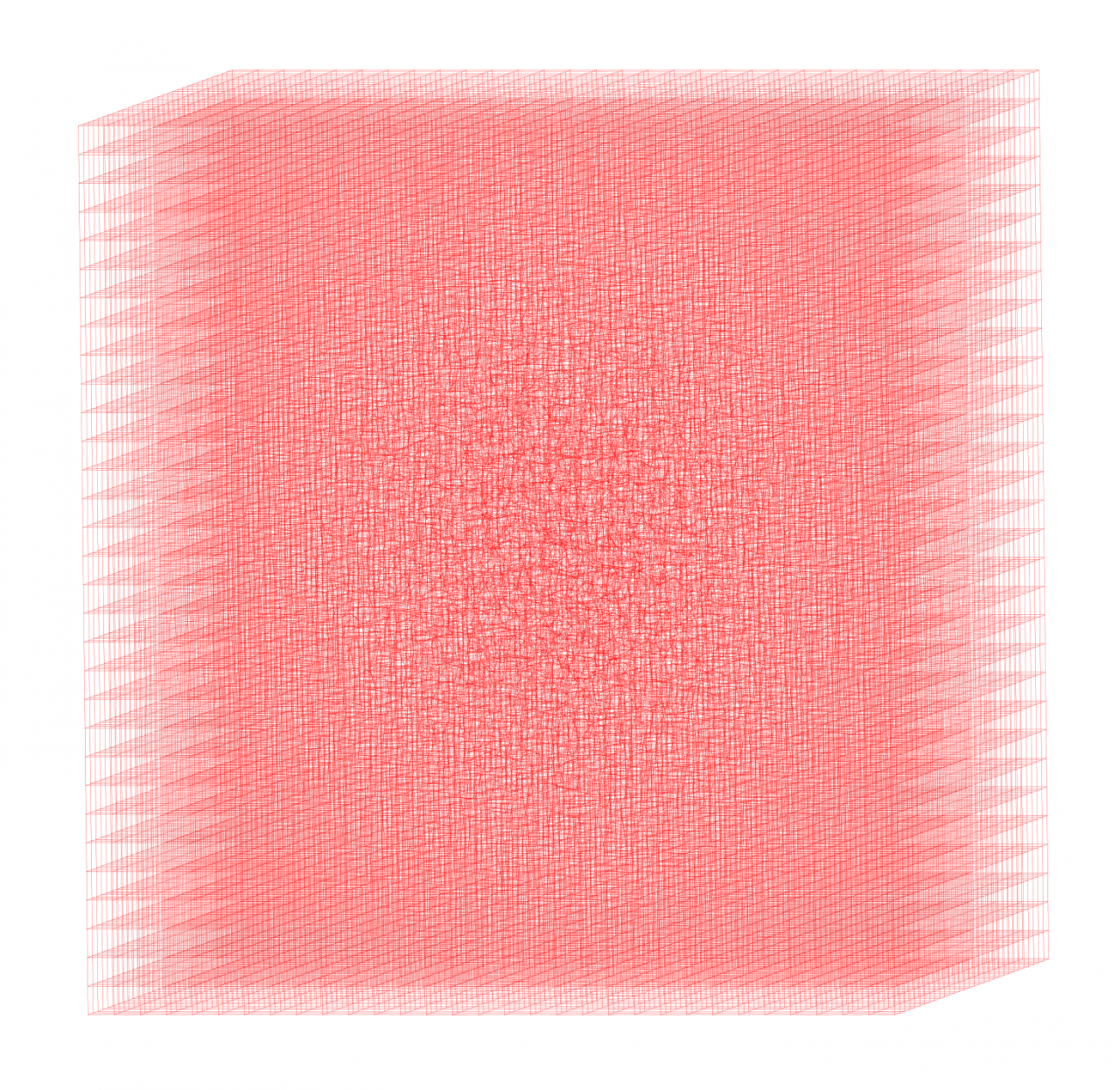 Three-dimensional body of red grid lines
