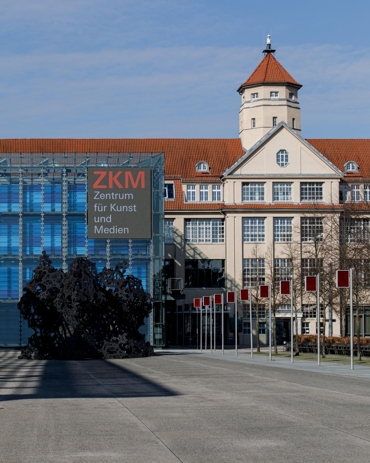 The ZKM building with cube, video wall and the sound pavilion The Morning Line in front of it
