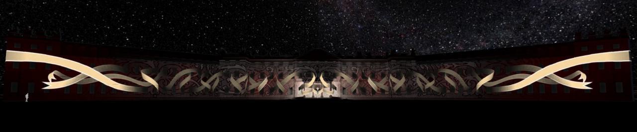 Zu sehen ist das beleuchtete Karlsruher Schloss vor einem Sternenhimmel. Projiziert sind goldene, in einander verschlungene Bänder