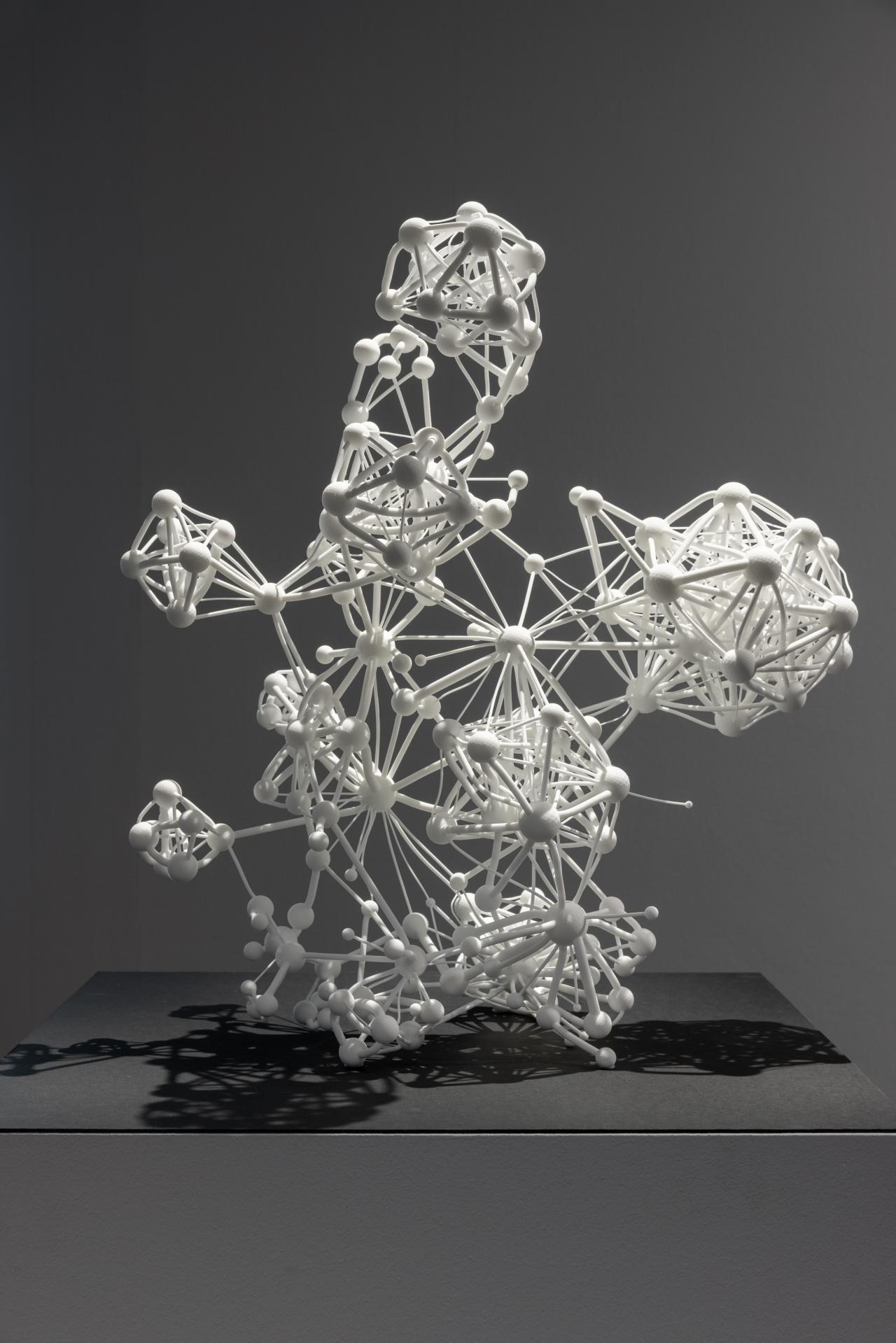 """Three-dimensional sculpture of the """"Flavor Network"""" in white"""