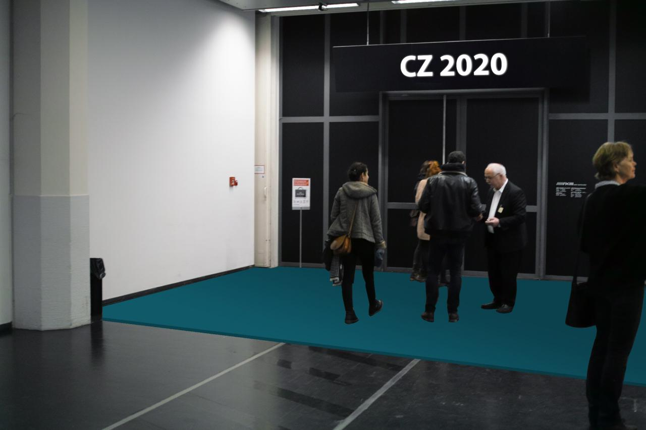 """In front of the entrance to the exhibition """"Critical Zones"""" there is a differently coloured floor, which has a different texture than the normal museum floor."""