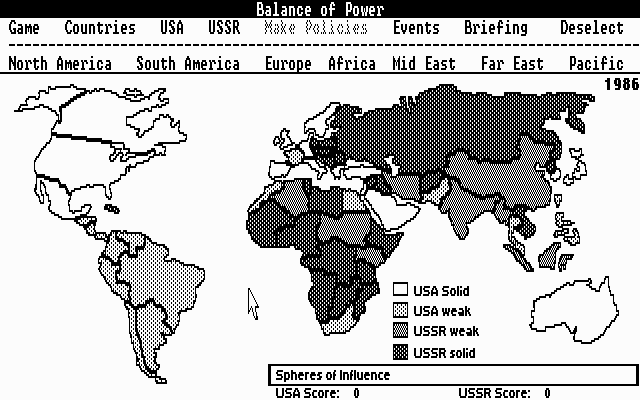 Screenshot des Spiels »Balance of Power« von Chris Crawford,1985.