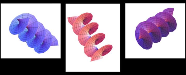 Drei Abbildungen zu Fabrizio Tamburinis neuem Modell des Lichtes, Licht als Vortex (Wirbel)