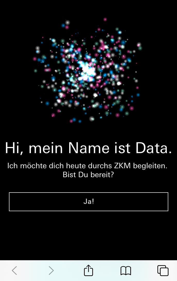 Screenshot eines Chatbot-Dialogs: Begrüßung.