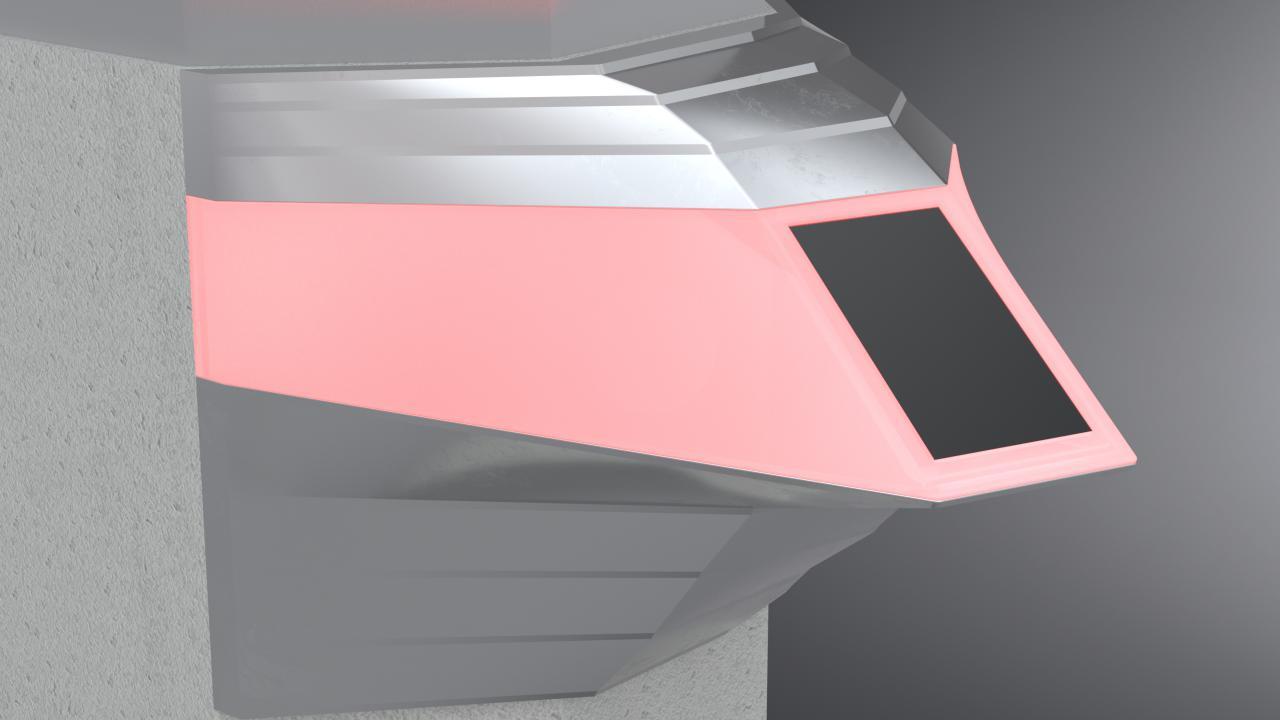 Konstruktionszeichnung der Chatbot-Unit: Silber mit rosa leuchtender Einheit.