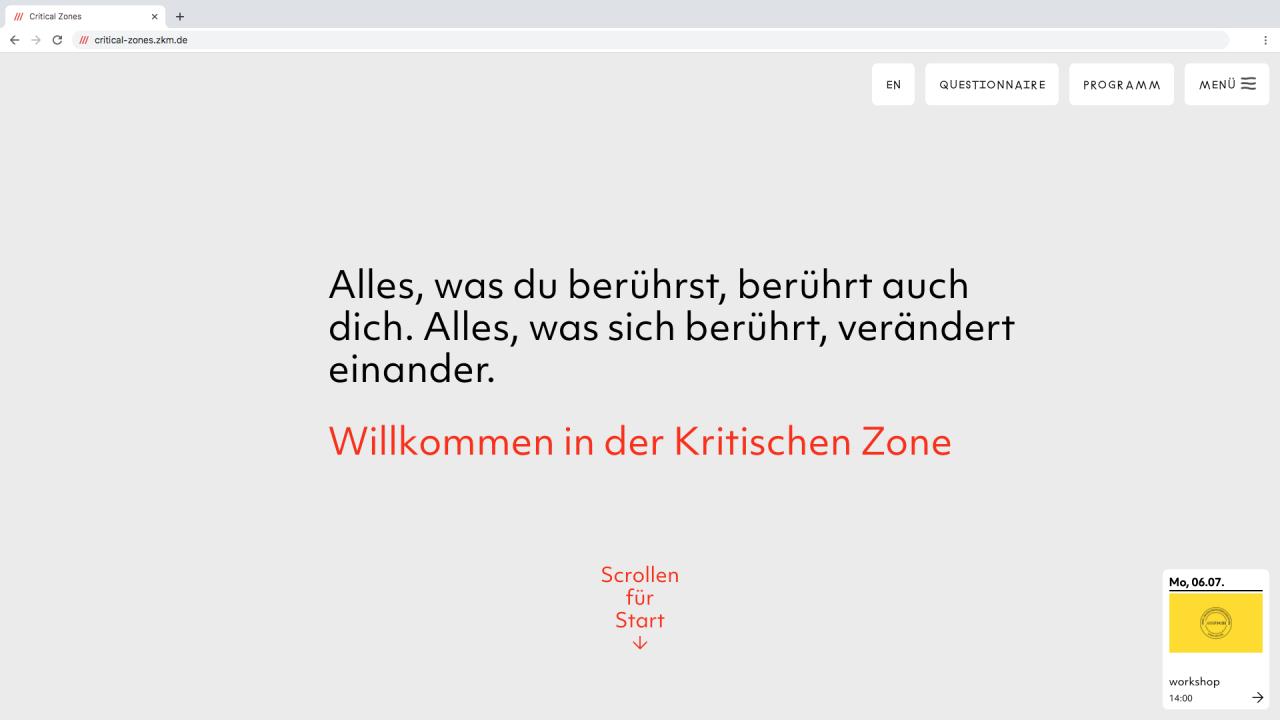 Ein Screenshot der virtuellen Plattform der Ausstellung Critical Zones.
