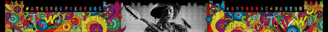 Vor einer Schlossfassade erscheint die Büste eines Musikers mit Hut und Schnurrbart. Seine Gitarre ragt schräg in das Bild. Seine Augen sind geschlossen und er trägt eine Jacke mit Federn. Links und rechts bedecken bunte florale Hippiemuster das Gebäude.