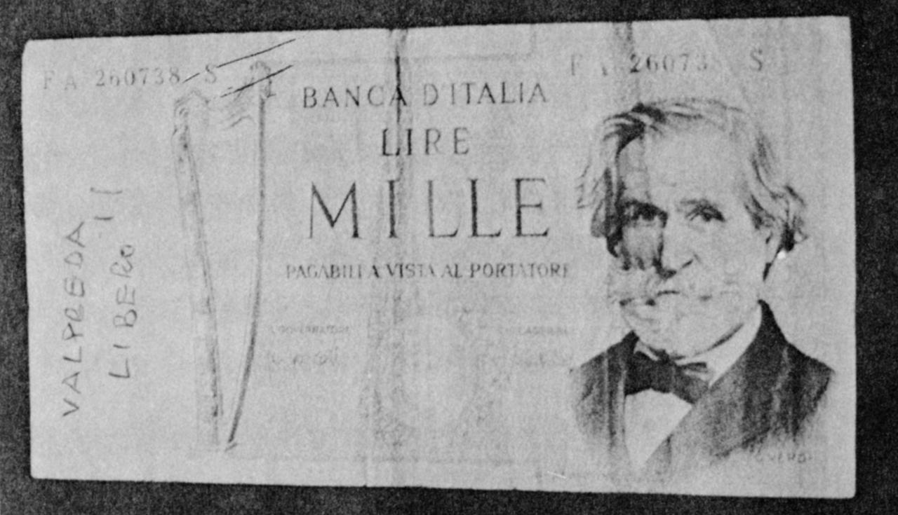 Beschrifteter Italienischer Geldschein