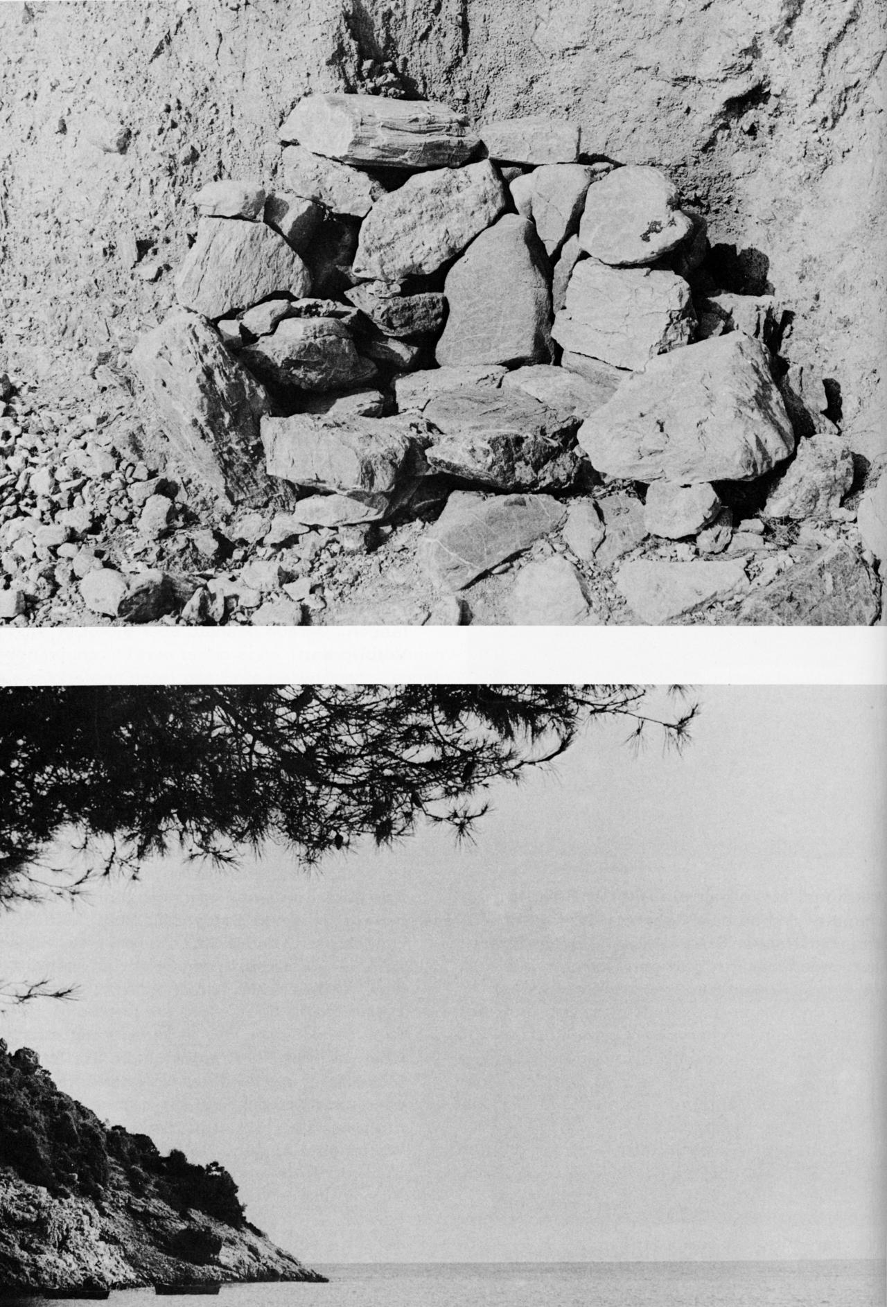 Zwei Fotos: Eines zeigt Steine, ein anderes eine Meeresküste