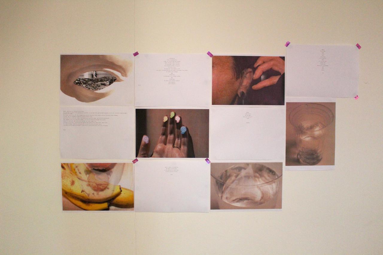 Zu sehen sind verschiedene Fotoaufnahme auf der Wand im Rahmen der Veranstaltung »Art im Puls«.