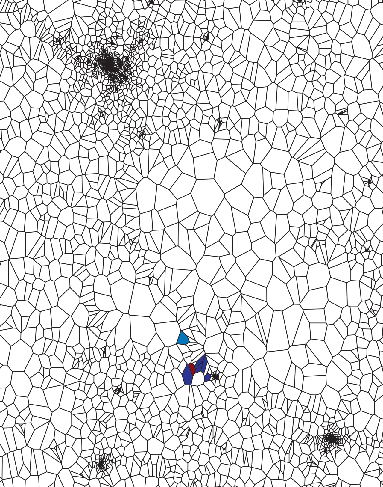 Geographical maps with lines similar to a cell structure. Coloured cells represent the virus-infected areas, which continue to spread from image to image until they cover the entire map.