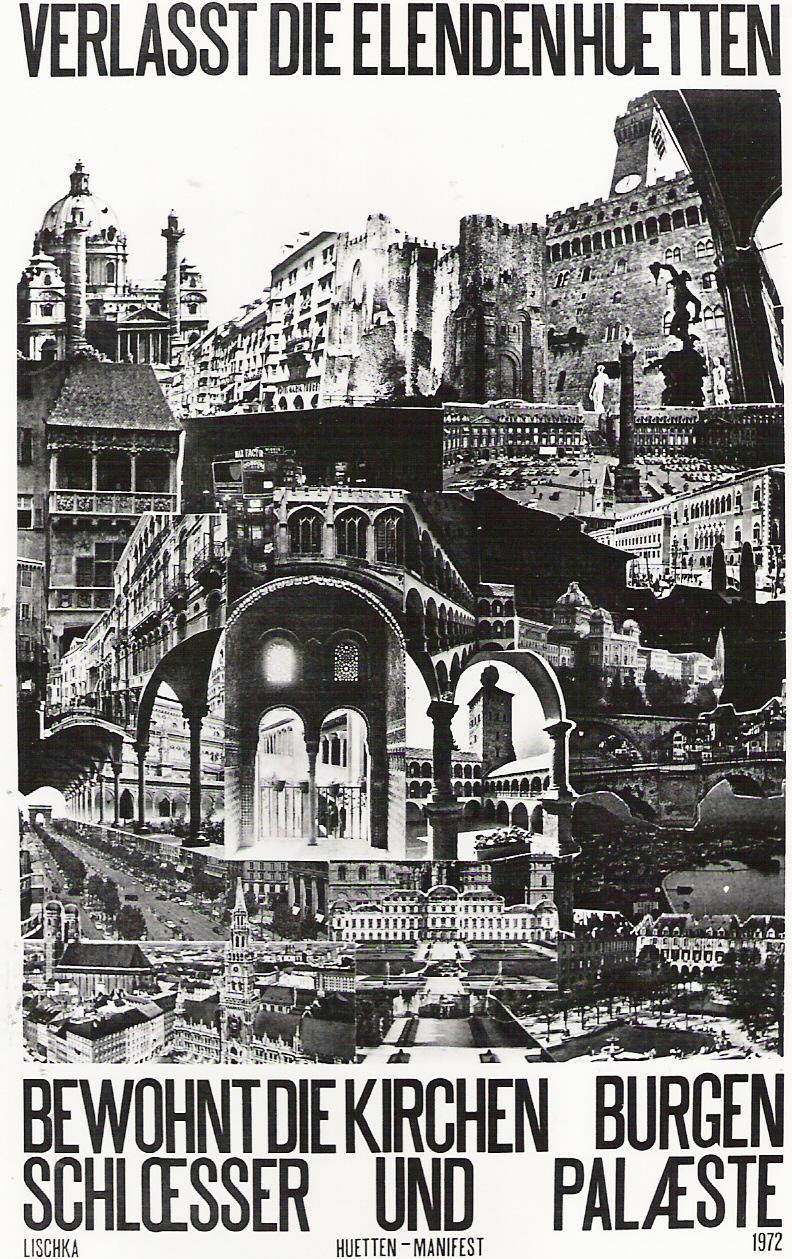 Schwarz-weiße Grafik aus Archiv Gerhard Johann Lischka, Collage verschiedener Paläste
