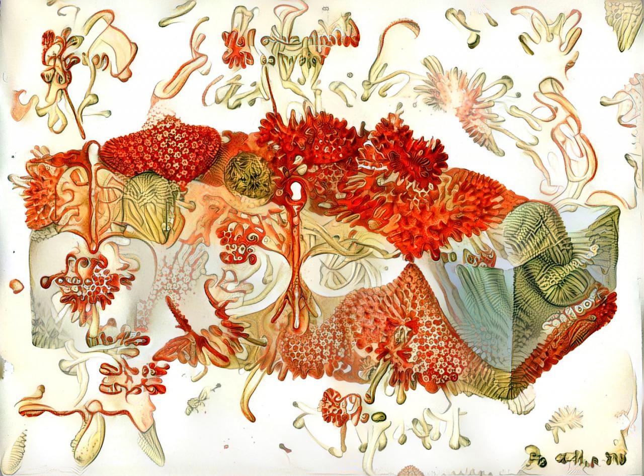 Zu sehen ist eine Zeichnung deren Grundform an einen Querschnitt des Bodesn erinnert. dieser ist jedoch nicht mehr in Bodenschichten unterteilt sondern ein konvolut aus verschiedenen Entitäten. Die schlauchförmigen Gewülzt strahlen in roter Farbe.