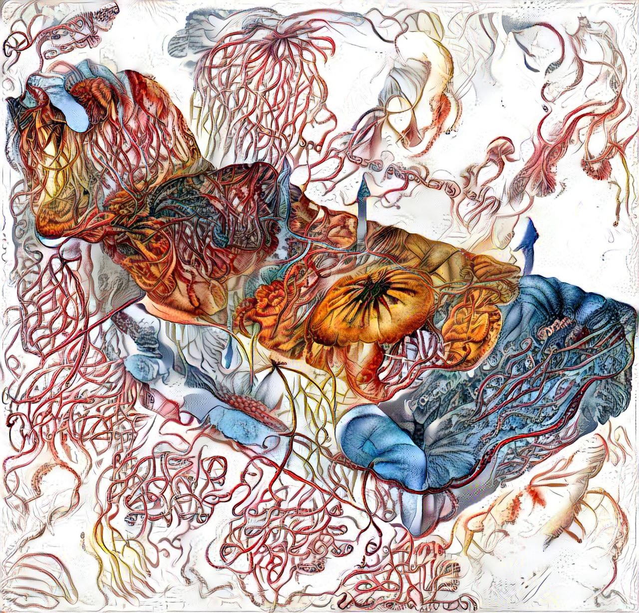 Die Zeichnung ist durch einen Algorithmus animiert, der den Querschnitt des Bodens zeigt, aber anstatt Sedimente eine tiefe Verzahnung zwischen Tieren und ihrer Umgebung.