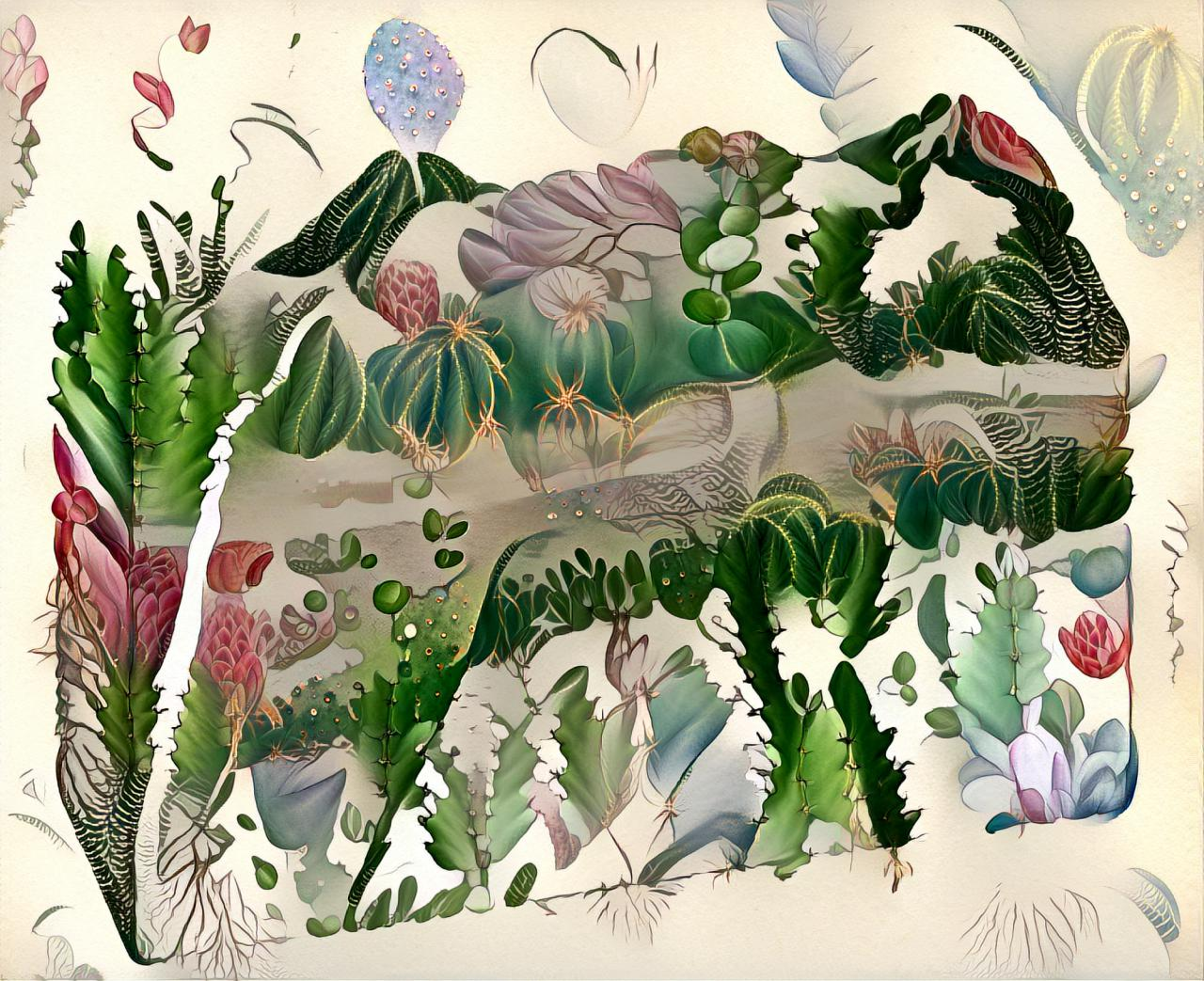 The drawing is animated by an algorithm that shows the cross-section of the ground, but instead of sediments a deep interlocking between animals and their environment.