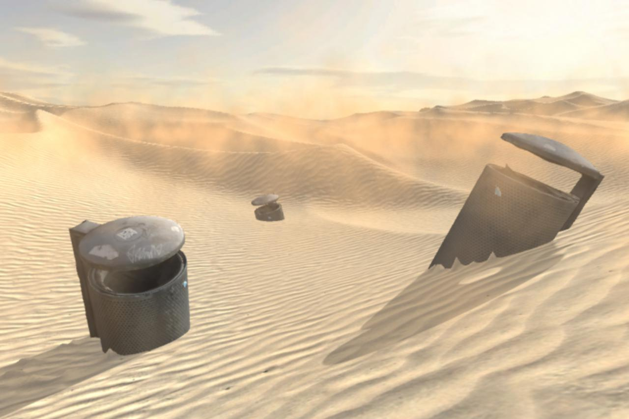 Visualization of a desert with garbage cans