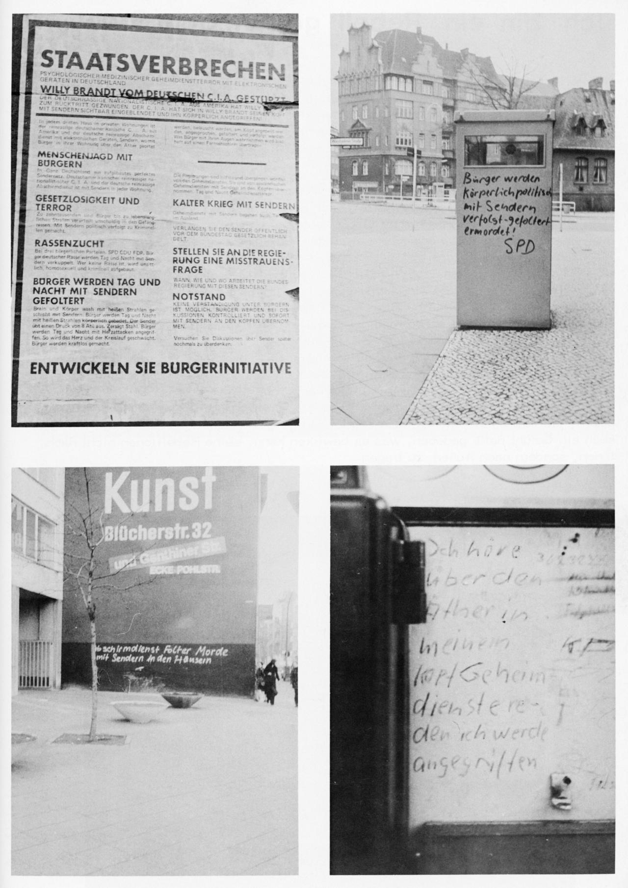 """Vier Fotos mit Grafittis des sogenannten """"Sendermanns""""."""
