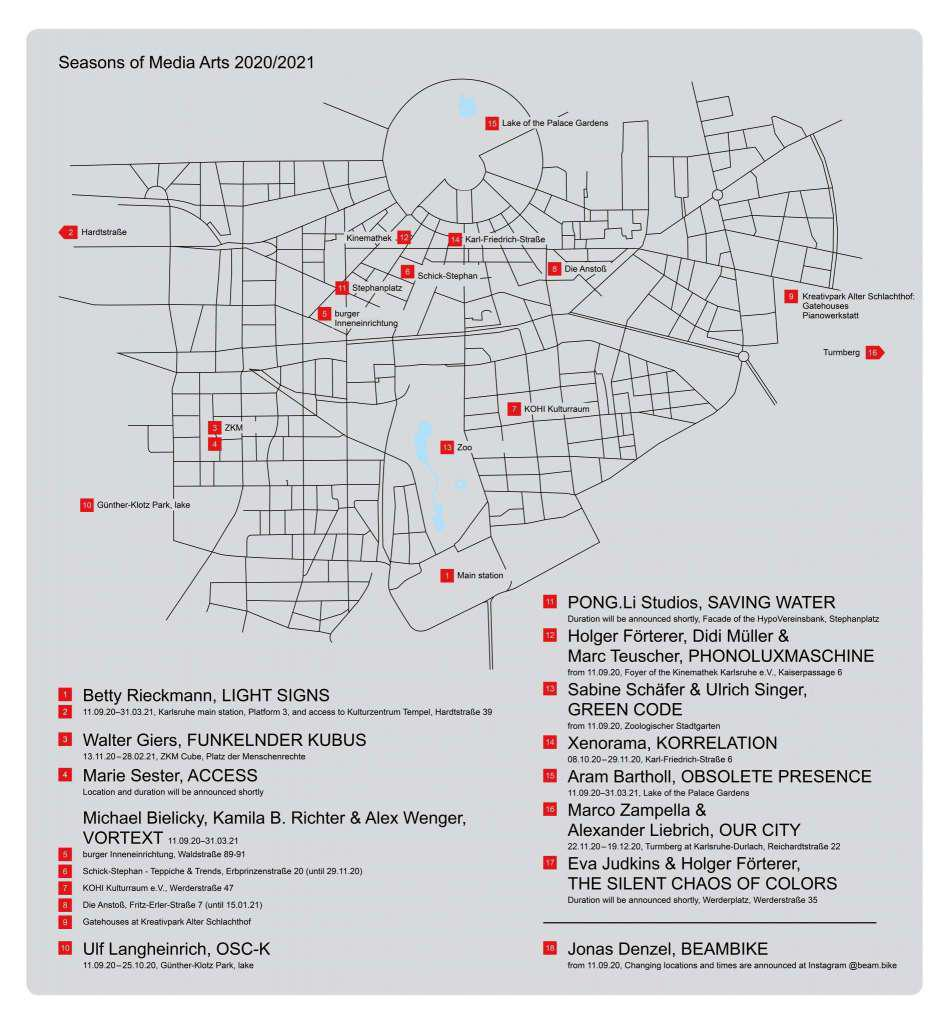 A map indicating the sites of the artworks of the art festival Seasons of Media Arts, which are distributed in the Karlsruhe city area.